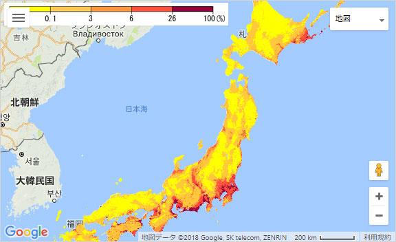 震度6強以上の地震に見舞われる確率